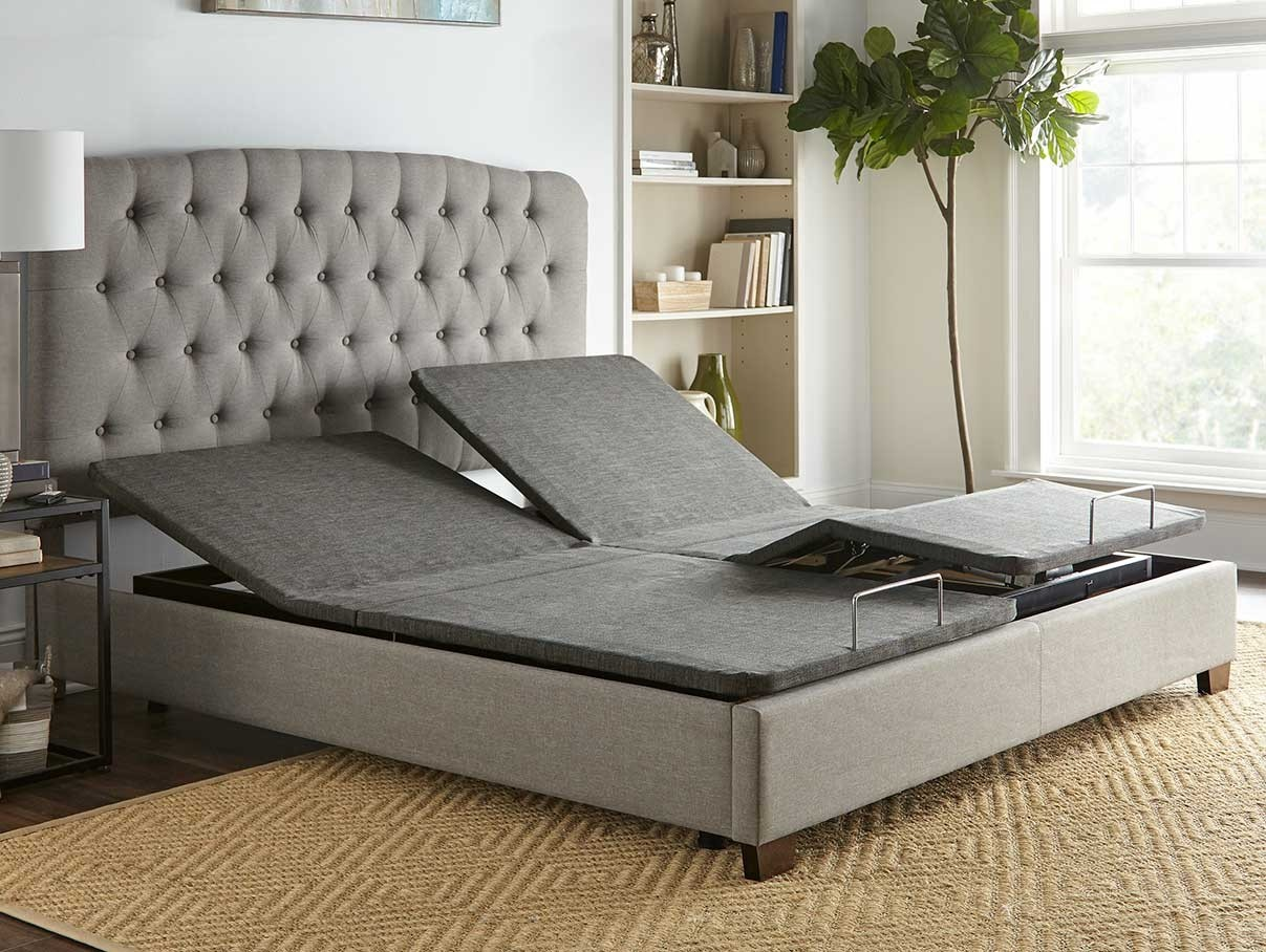 Split king adjustable bed inside a platform bed
