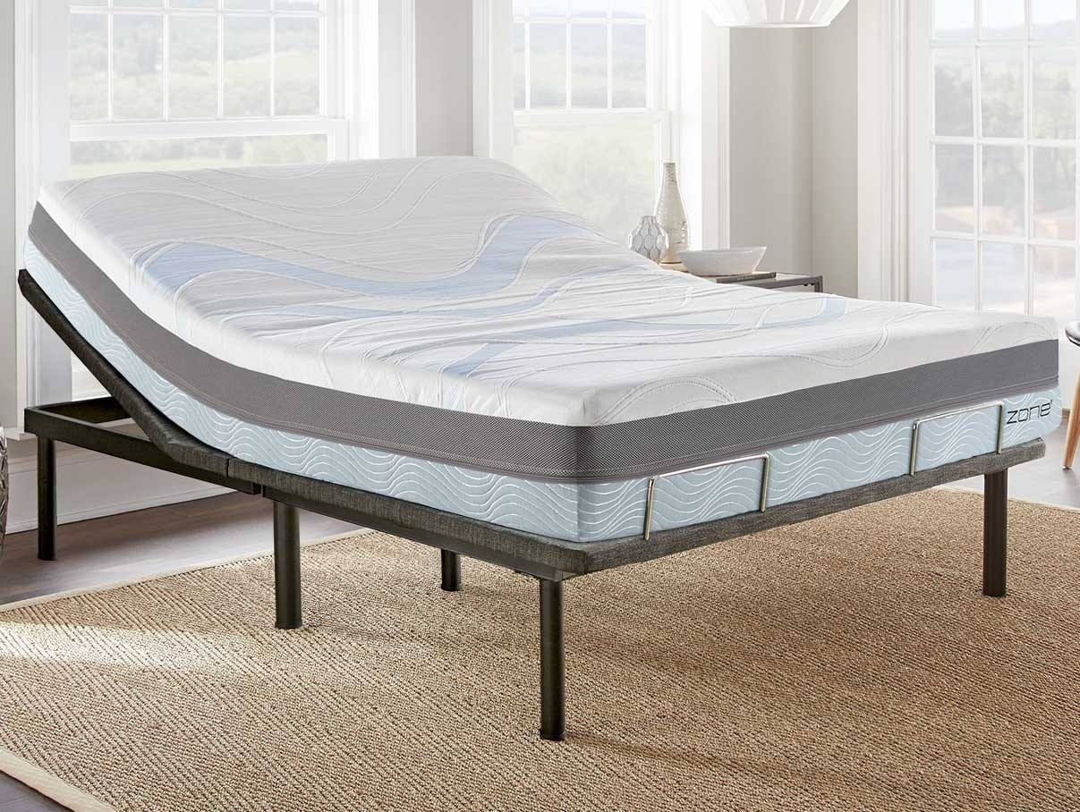 Angle photo of queen size izone bed on an adjustable power base